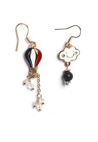YOUNIQ red YOUNIQ Basic Korean Smiley Cloud & Hot Air Ballooon Earring (Blue) 32B31ACBF606B1GS_1
