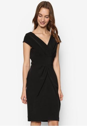 裹飾V 領抓褶蓋袖連身裙, 服飾esprit香港門市, 洋裝