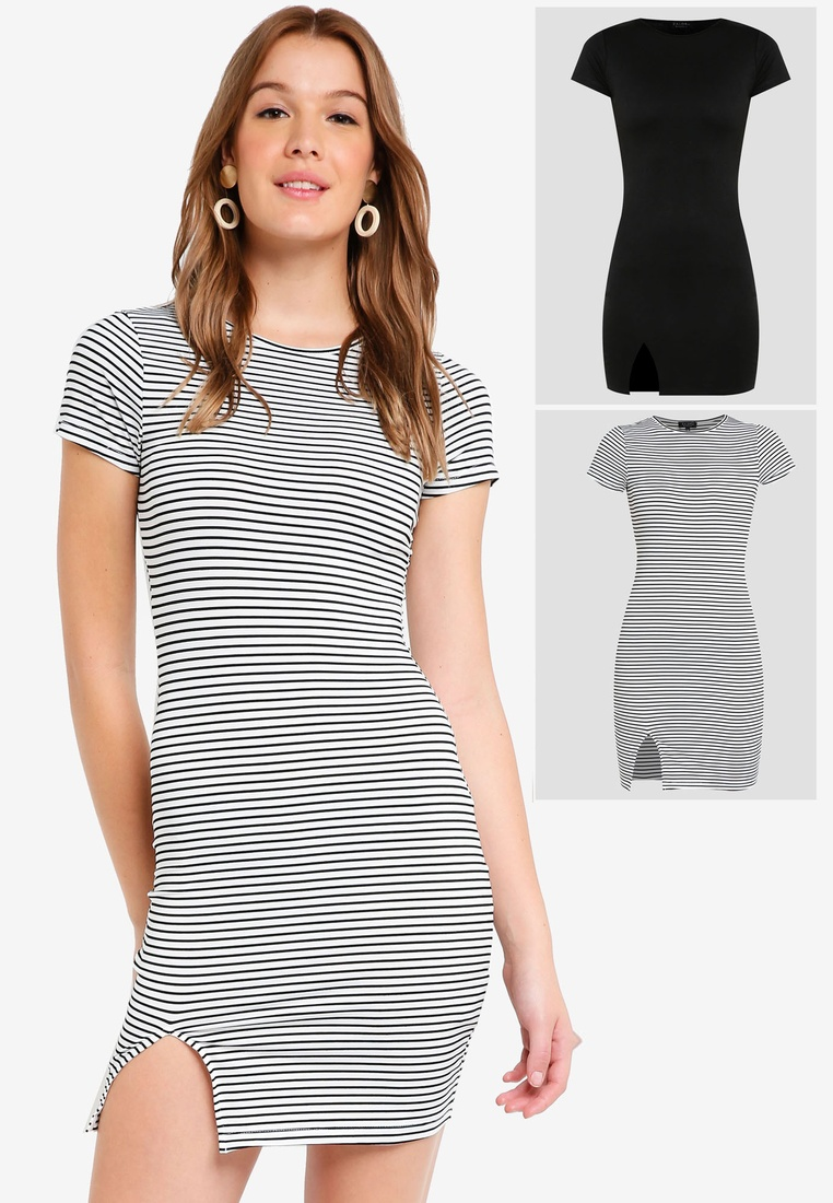 Stripe 2 Short Basic Black ZALORA Bodycon White pack Dress BASICS Sleeves Black with FFarwBnq7