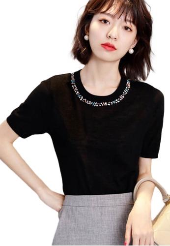 Sunnydaysweety black Korean Style Woolen Beaded Ultra-Thin Top A21031903BK C45B5AA89FE502GS_1