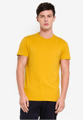 French Connection yellow Classic Crew T-Shirt B9F04AA8F71DB7GS_1