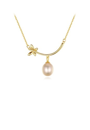 Glamorousky silver 925 Sterling Silver Plated Gold Simple and Elegant Butterfly Pink Freshwater Pearl Pendant with Necklace 71E2DAC94B9970GS_1