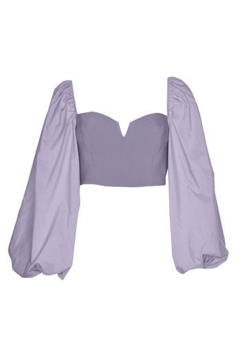 Trendyol purple Sweetheart Poplin Sleeve Crop Top 82199AAC555F26GS_1