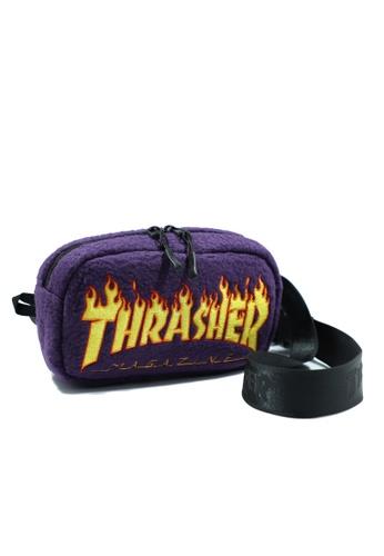 THRASHER purple Thrasher Flame Fleece Waist Bag 0D716ACA79F53EGS_1