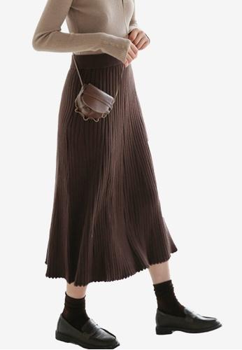 Shopsfashion red Ribbed Midi Skirt C6036AA38ACB44GS_1