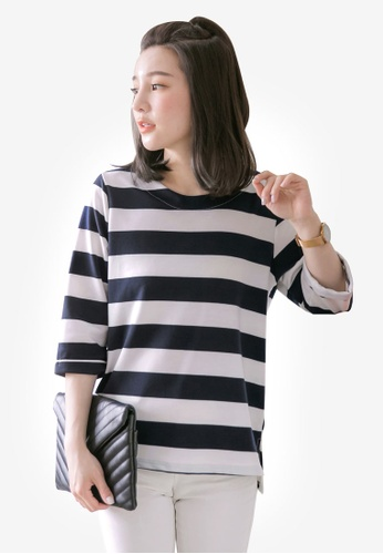 Tokichoi multi and navy Striped Oversized Top C9900AAB36BCB5GS_1