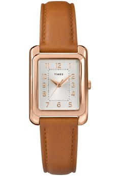 5dfb05a32743 TIMEX brown Timex-25mm Women s Tan Leather Strap Silver-tone Dial-TW2R89500