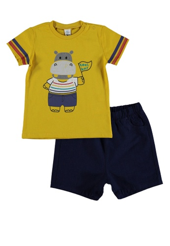 LC Waikiki yellow Baby Boy Printed T-Shirt And Shorts Set 7C322KA0DBEEC6GS_1