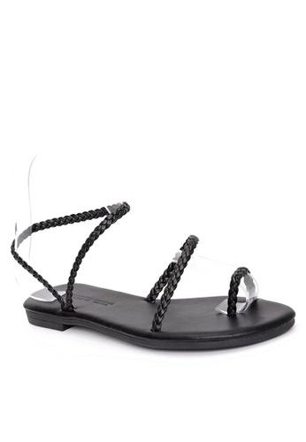 Twenty Eight Shoes 黑色 性感幼辮子平底涼鞋 VS1733 BF0D3SHF8824AFGS_1