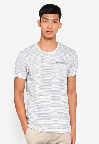 ESPRIT white Striped Short Sleeve T-Shirt C1BB5AA109AC02GS_1