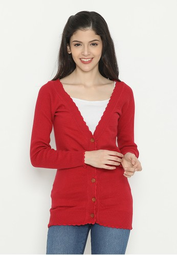 Mobile Power red Basic Cardigan Red Mobile Power Ladies - D20185 2A146AA97BA2EDGS_1