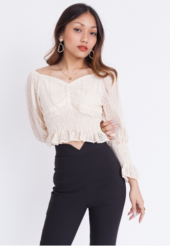 Hook Clothing white and beige Lace Detail Long Sleeve Blouse E8F92AA6727B63GS_1