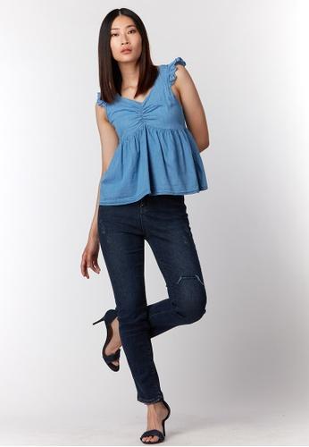 What To Wear Ruched Details Sleeveless Soft Denim Top in Dark Blue 83FA0AAFE1FFFBGS_1