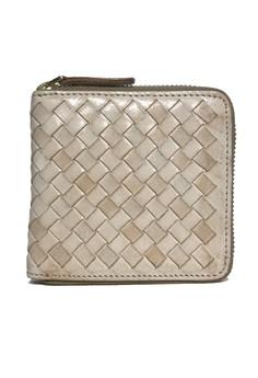 Vintage Weaving Leather Zipped Wallet