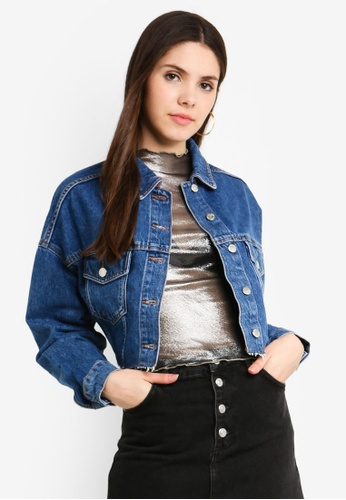 TOPSHOP 藍色 Hacked Denim Jacket 71F14AA57B6B36GS_1