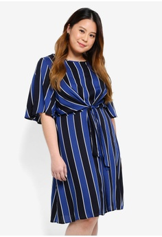 5b5d4f59ed2d Dorothy Perkins navy Plus Size Navy Stripe Manipulated Dress  D8E70AA5B0E9A9GS 1