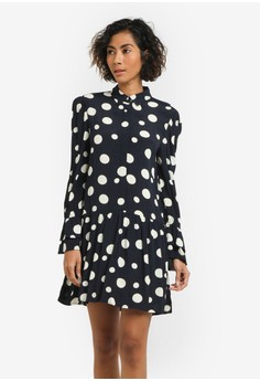 harga Polka-Dot Ruffled Dress Zalora.co.id