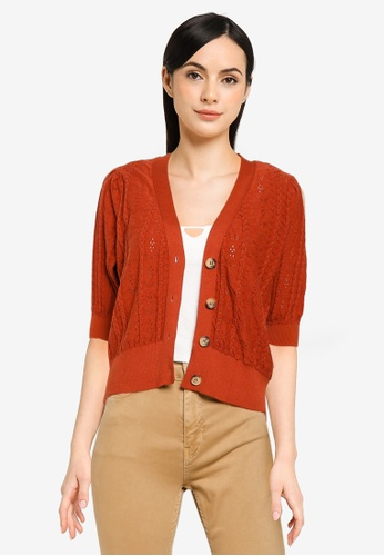 ONLY brown Celina 2/4 Cardigan 22478AAD19A9F6GS_1