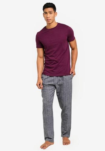 Burton Menswear London 紅色 質感睡衣組 59719AA689DCB2GS_1