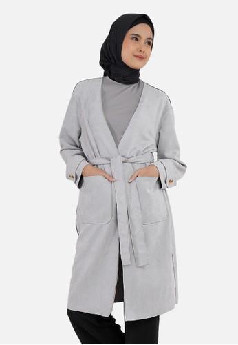 QUEENSLAND grey Outer Wanita Lengan Panjang I31000004Q Abu Muda 3AC94AADE8A4F1GS_1