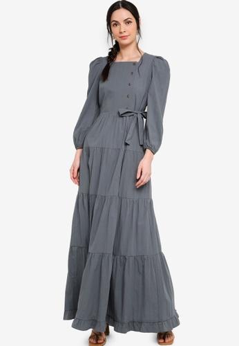 Zalia green Puff Sleeve Tiered Dress E1E9DAAC8481DEGS_1