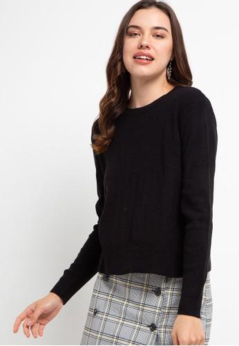 Button On black Women Basic Sweater E58ADAAB2BFDD2GS_1