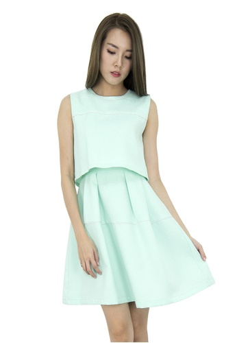 MOONRIVER green Isa Fit And Flare Dress MO886AA0GSYDSG_1