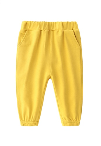 Kiddies Crew yellow Little Trendsetter Bear Ears Flap Hip Hop Big Butt Boys Girls Baby Kids Long Pants With Pockets (Yellow) BC49EKA166E5ADGS_1