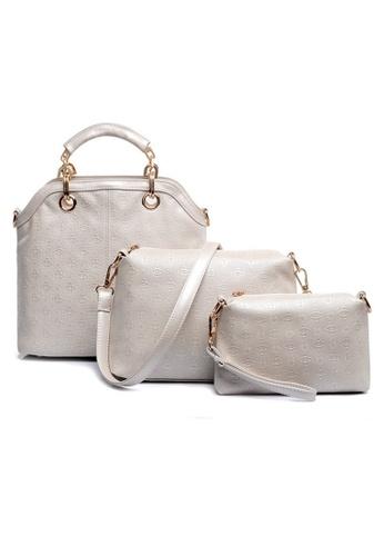 LULUGIFT white Faux Crocodile PU Leather Europe Brand 3in1 White Bag LU989AC39ENKMY_1