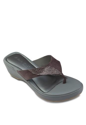 閃飾楔形夾腳涼鞋,esprit outlet 家樂福 女鞋, 楔形涼鞋