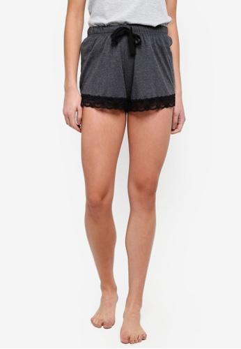 Dorothy Perkins grey Grey Lace Trim Shorts 303D6AA5C0FB96GS_1