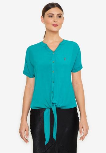 Bossini Ladies blue Woven Plain Short Sleeves Blouse F5BBEAA89FD75FGS_1