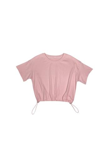 DRUM pink DRAWSTRING SHORT SLEEVE TOP- PINK 33493AAA126590GS_1