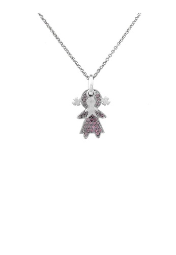 Glamorousky purple Lovely Boy and Girl Necklace with Purple Austrian Element Crystal 2EACDAC2BD9B93GS_1