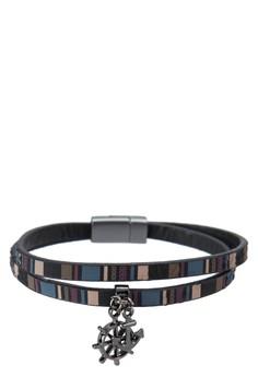 Premium- Genuine Leather Double Tour Wristband With Steering Wheel