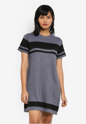 Something Borrowed black Knitted Stripe Tee Dress C1AD4AA373DFEAGS_1