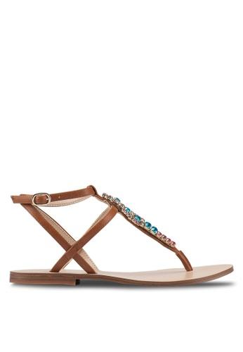 ALDO 褐色 繞帶鑽飾平底涼鞋 F076ASHFD95BBBGS_1