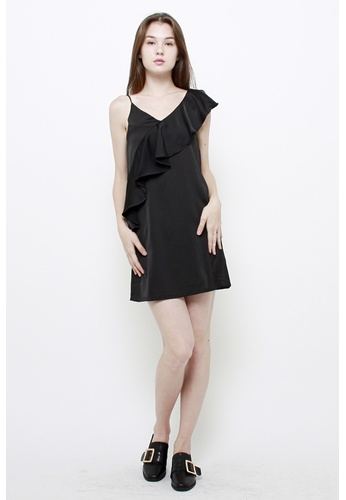 QLOTHE black Henrietta One-shoulder Ruffle Dress 89052AAE82C367GS_1