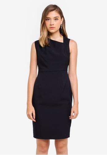 Dorothy Perkins navy Petite Pleat Neck Dress E6E03AAE6CE2C1GS_1