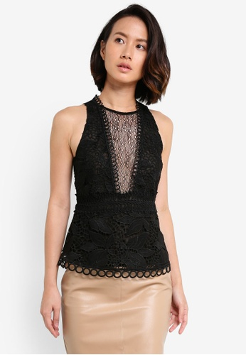 TOPSHOP black Lace Peplum Shell Top TO412AA0RCFFMY_1