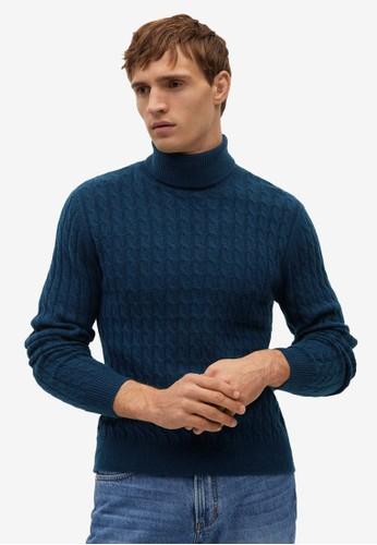 MANGO Man blue Turtleneck Wool Sweater 8D42BAA44436D3GS_1
