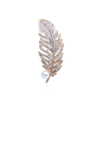 Glamorousky white Fashion and Simple Plated Gold Feather Imitation Pearl Brooch with Cubic Zirconia AC3CCACF5262F3GS_1