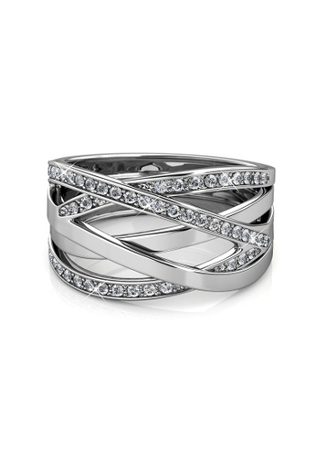 Her Jewellery silver Criss Cross Ring (White Gold) - Embellished with  Crystals from Swarovski f50c3cadb