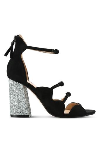 ZALORA black Glitter Block Heel Sandals ACC2CSHF65203AGS_1