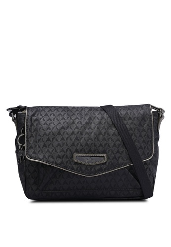 Kipling black Kassandra Embossed Sling Bag KI702AC0RN8WMY_1