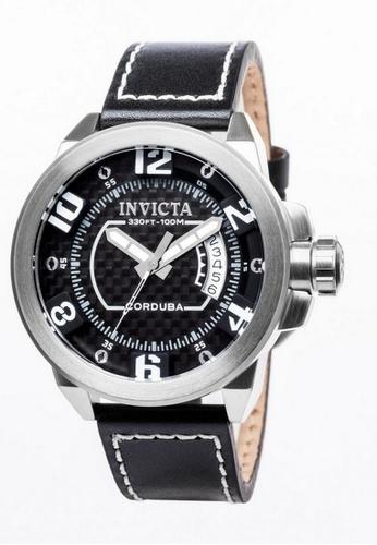 INVICTA black and silver Invicta Corduba Men 46mm Case Black Leather Strap Black Dial Quartz Watch 90206 w/ Cap IN968AC0FKHHSG_1