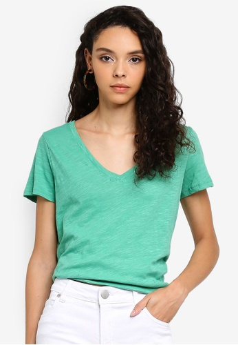 Cotton On green The Deep V T-Shirt E83F6AAD9F2019GS_1