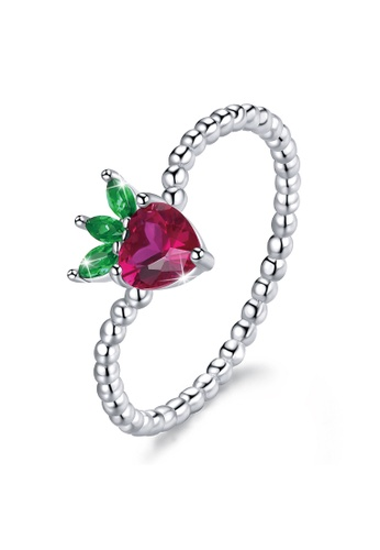 925 Signature silver 925 SIGNATURE Solid 925 Sterling Silver Strawberry Ball Chain Ring 85047AC17F1624GS_1
