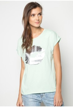 Extended Sleeves Cut and Sew Sleeve Cuff with Foil Print