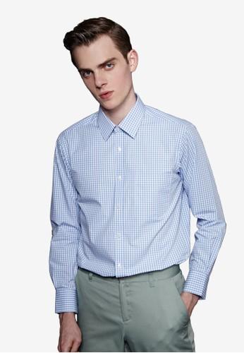 經典格紋。立體版型。簡約精紡商務襯衫-MIT-1esprit 高雄1006-藍色格, 服飾, 商務襯衫